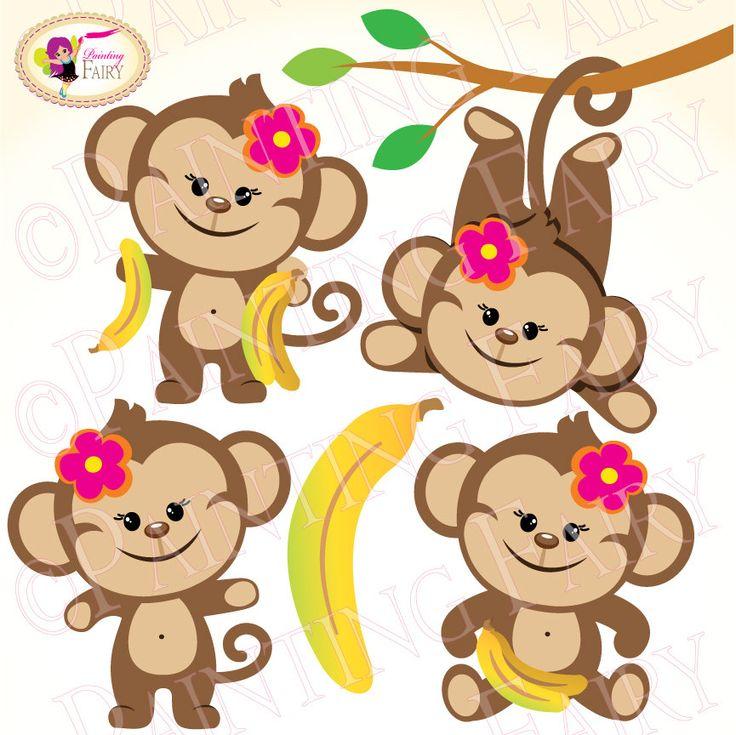 Clipart Cute Girl Monkeys With Bananas Zoo Safari Clip Art