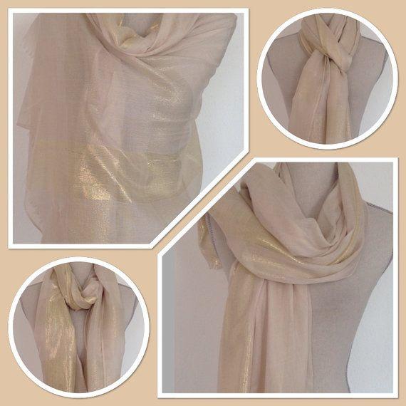 Beige Gold Lurex Sheen Stripe Pashmina Shawl Wrap by StyleMyFrock