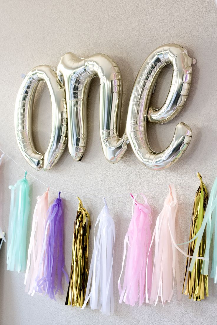 """One"" script balloon and tassels - Little Big Balloon Company"