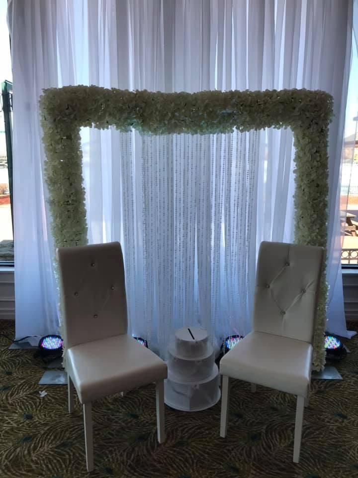 White Sheer Floral Backdrop rental Maryland #backdrop #wedding #decor #decorator #Maryland #rental #lady sangeet #Indian #Pakistani #event #draping #arch #ceremony #galapartiesinc