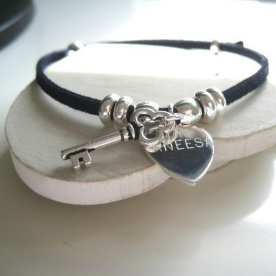 Treat your bridesmaids to a Key Suede Bracelet that's personalised by you! The delicate suede bracelet features a heart which is engraved with a name or little message of your choice. #Jewellery #Suede #PersonalisedGifits #Wedding #Bridesmaids  £17.99
