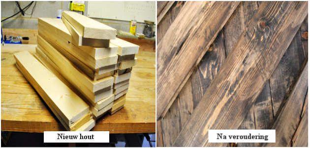 Nieuw vurenhout voor en na een aantal verouderingstechnieken en beits.