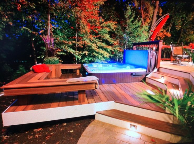 Outdoor hot tub idea landscape design pinterest for Hot tub landscape design