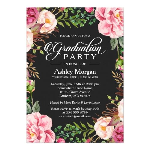 The 142 best graduation party invitations images on pinterest grad modern classy typography floral graduation party card stopboris Choice Image