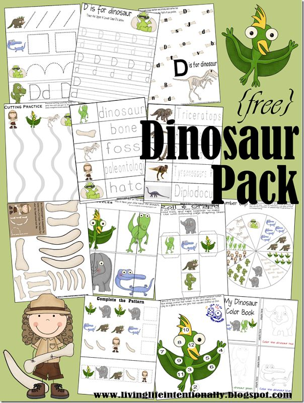 {Dinosaur Printable Pack -  Dinosaur Unit brings your child lots of Dinosaur fun! There are {free} printables, crafts, activities, resources, and more!