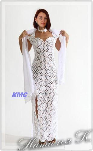 Long White Lace Dress free crochet graph pattern.Preciosos modelos en crochet !!!!