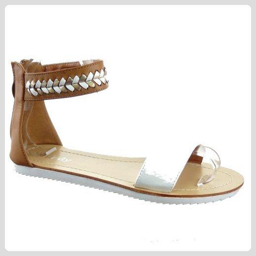 Kickly–Schuh Modus Sandale Tong Stepptanz Knöchel Frauen Flashy–Innen Leder–weiß/gold, Weiß - Weiß - weiß - Größe: 40 - Sandalen für frauen (*Partner-Link)