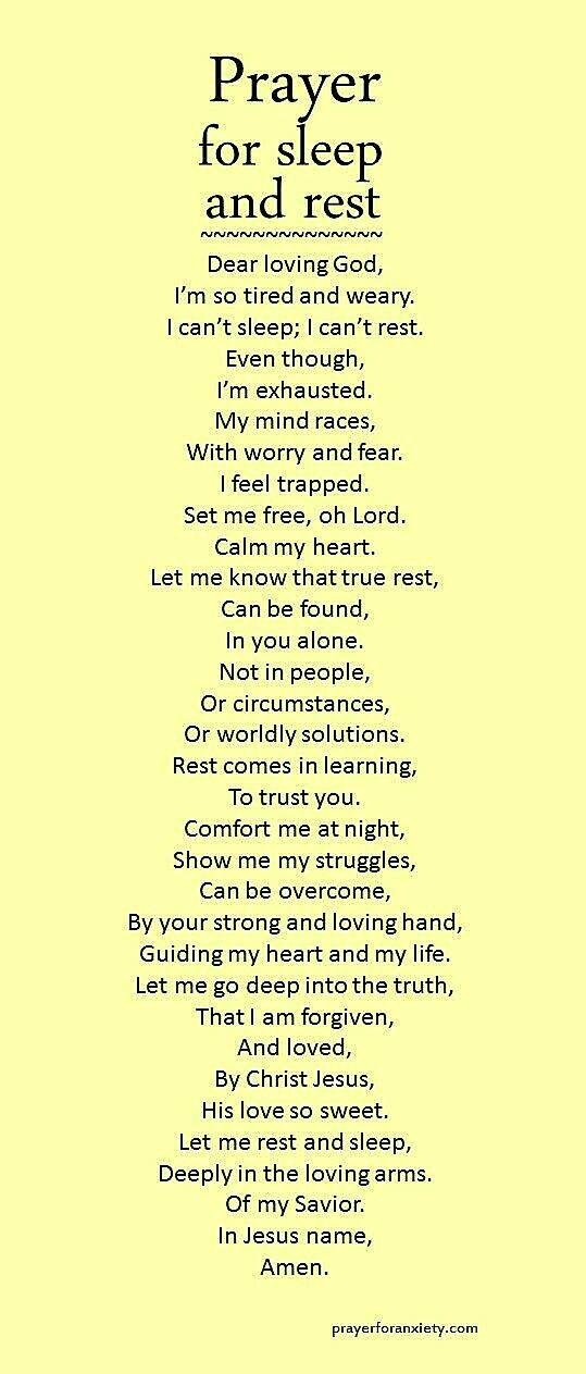 Prayer for Rest and Sleep