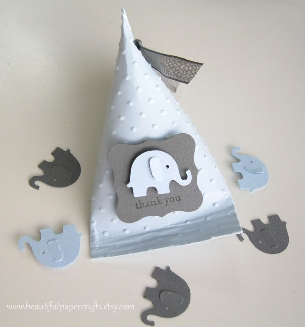 Baby Blue and Grey Elephant Baby Shower Favors  / idée paquet cadeau gris éléphant, DIY