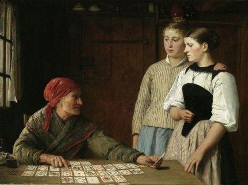 Anker 1880 Die Kartenlegerin [Kanton Bern: Gotthelftracht]