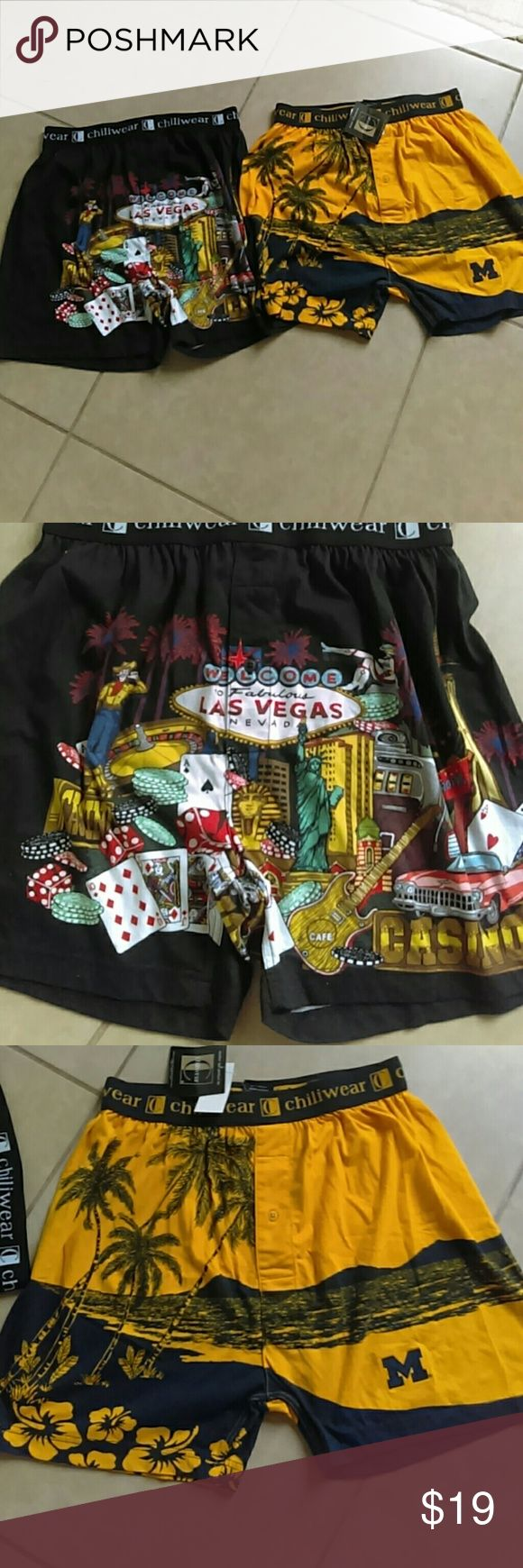 2 Men Boxers Chiliwear New with tags Las Vegas and M Letter. Very comfortable boxers Chiliwear  Underwear & Socks Boxers