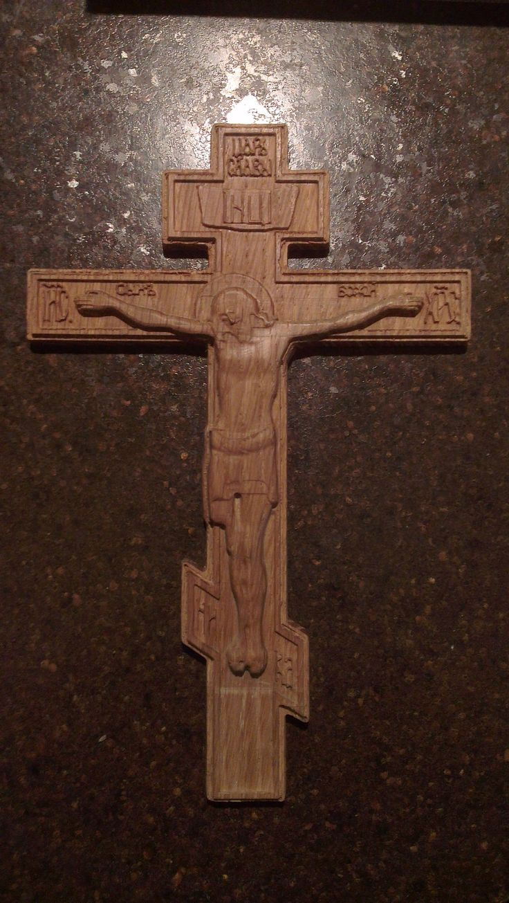 Carved wooden Orthodox crucifix # Ready for shipping. # Size 18 * 180 * 180 mm. # $15.00