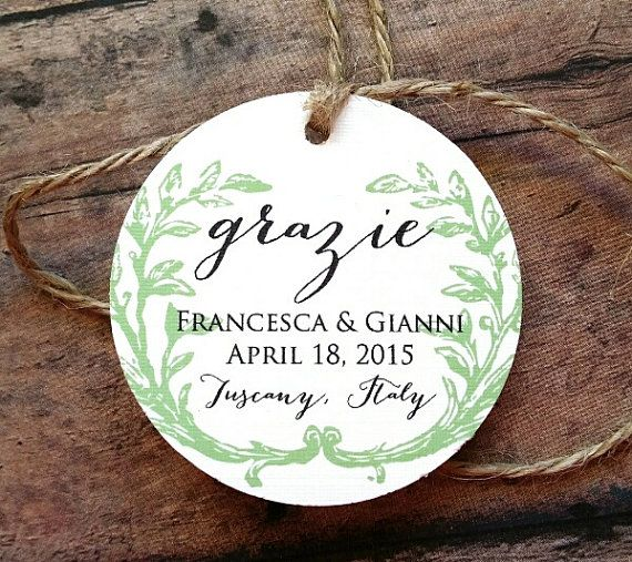 Italian Wedding Favor Tags Grazie Favor Tags by SparkleandTwineCo