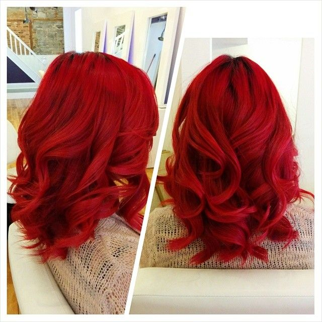 Blood red color with loose curls. Created by hairstylist Trevor. See more of my work on my instagram page!