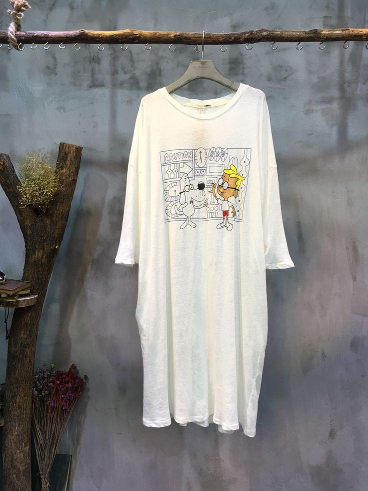 Casual Style Cartoon Print T-shirt Cheap Cotton T-shirt Dress    #dress #cartoon #print #t-shirt #casual #cotton #wholesale #retail #white #fashion #cheap