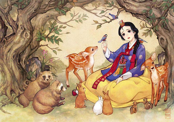 obsidian reinterprets western fairytales as korean illustrations