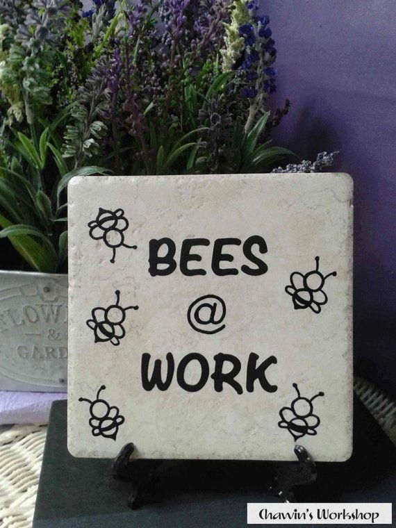 Gardening Funny Bee Garden Sign Bees Work Gift For Gardener