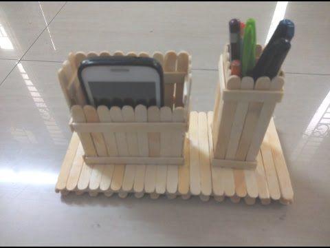 DIY crafts: PHONE HOLDER (beach chair) from ice cream sticks - Innova Crafts - YouTube