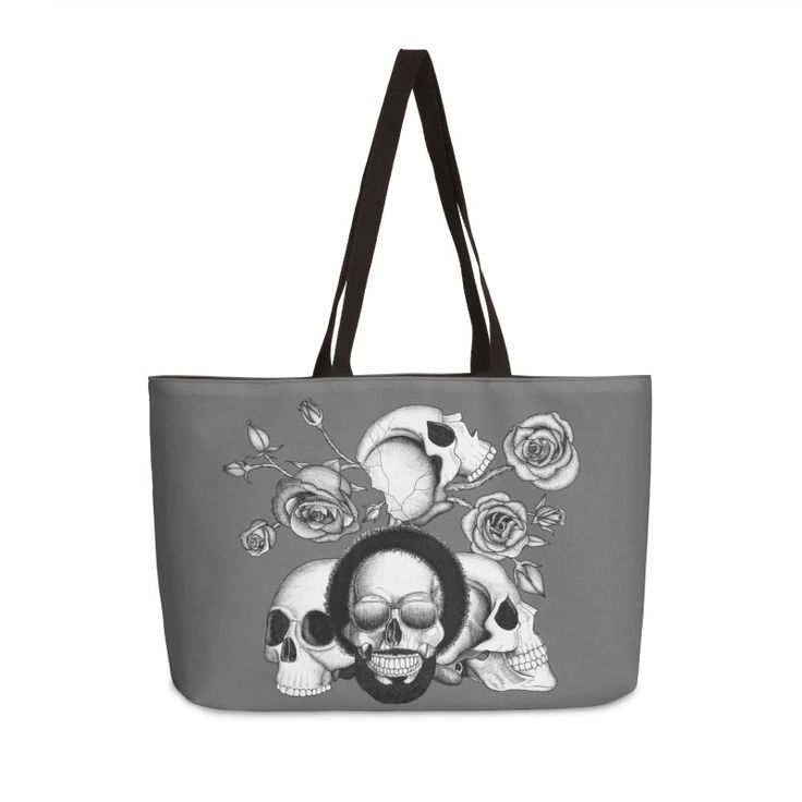 Grunge skulls and roses (afro skull included. Black and white version) by #Beatrizxe   #threadless #bag #tote #fashion Ink drawing of four skulls with a grunge and tattoo style. It is inspired in grunge, punk and rock music.  As background I added some roses with their stems and thorns. #skull #skulls #grunge #punk #rock #sunglasses #tattoo #rose #stem #thorns #death #dead #bones #black #white #ink #music #skeleton #illustration #artwork #drawing #art #tattooDesign #tattooStyle