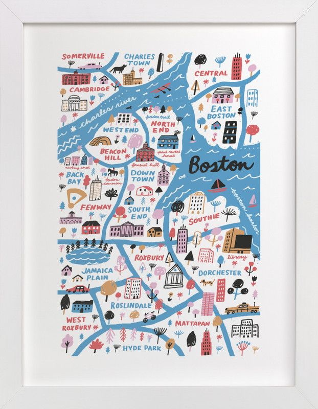 """""""I Love Boston"""" - Art Print by Jordan Sondler in beautiful frame options and a variety of sizes."""
