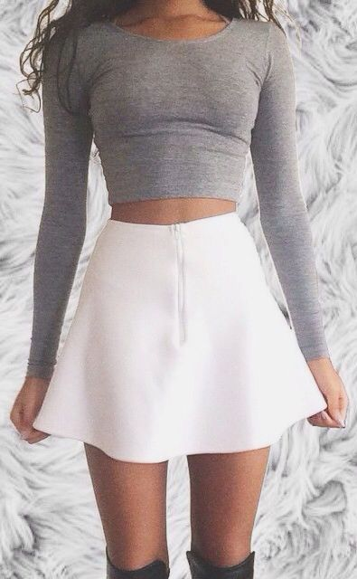 #summer #outfits / gray + skirt