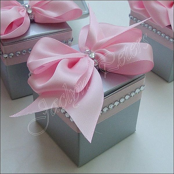 Pink And Silver Wedding Favor Boxes With Bows And Rhinestones