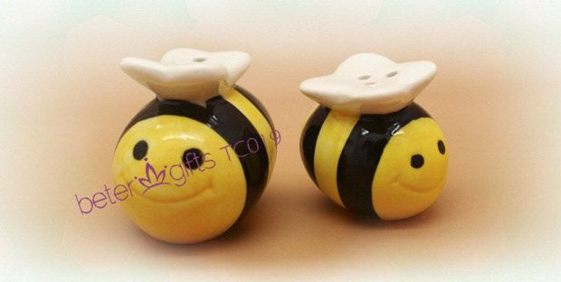 http://m.aliexpress.com/item/704647278.html  Mommy and Me Sweet as Can Bee Ceramic Honeybee Salt and Pepper Shakers