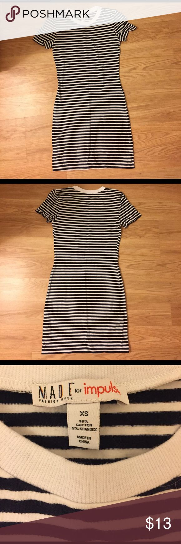 Striped bodycon dress Striped bodycon dress. White and navy blue stripes. MADE for impulse  Dresses Mini