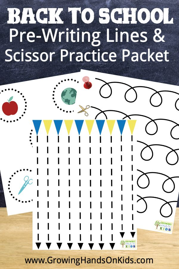 Back to School Pre-Writing Lines and Scissor Practice Packet for Preschoolers ages 3-6.