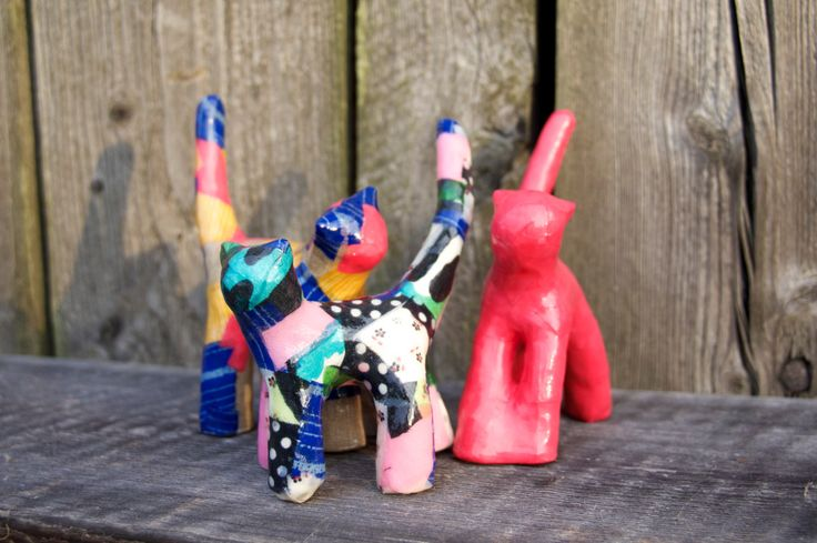 Three little kittens, dear brothers and sisters. Small figurines on the table. Great gift that will brighten any room. Unique and handmade by ankaGilding on Etsy