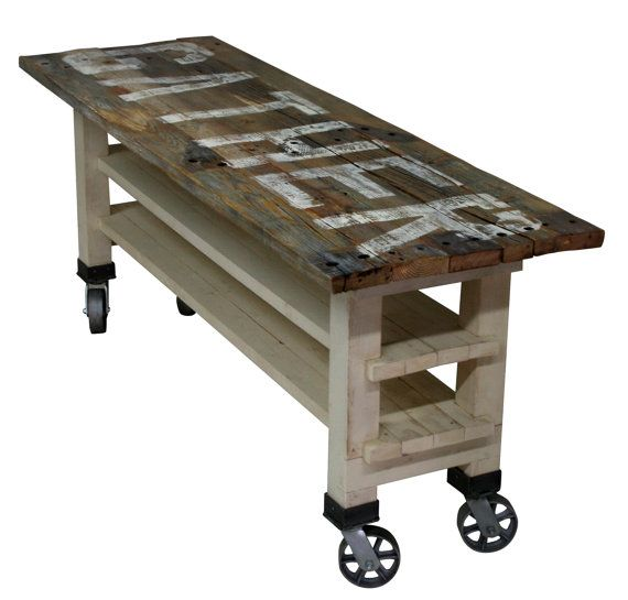 GATHER Reclaimed Wood Lettered Kitchen Island or Counter Height Dining Table on Caster Wheels