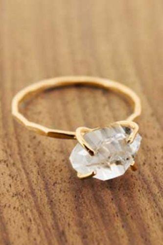 raw diamond. :: Herkimer Diamond Solitaire Ring by Melissa Joy Manning ::