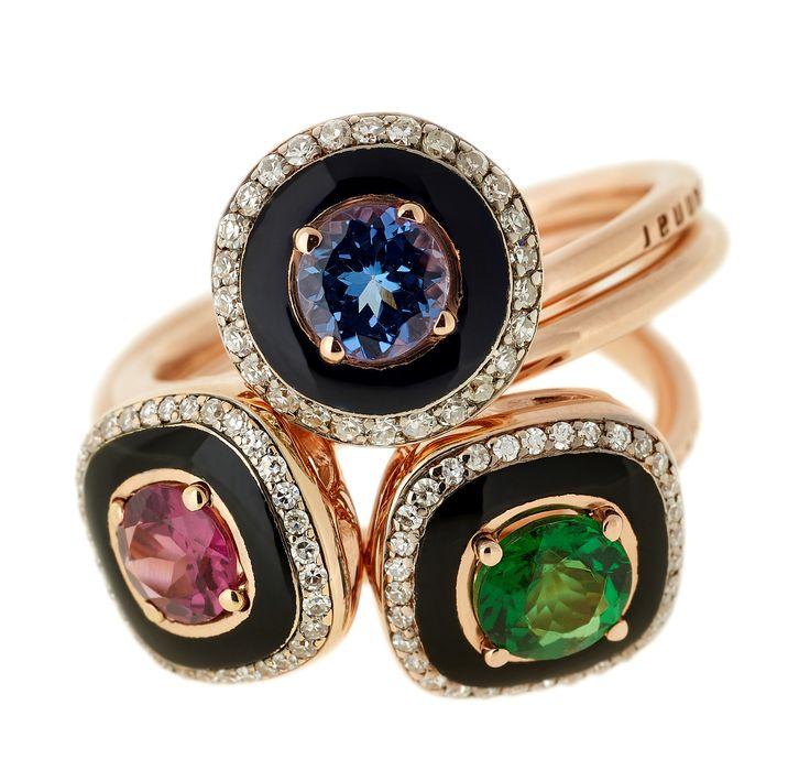 Pink gold and black enamel rings set with diamonds, tanzanite, rhodolite and tsavorite