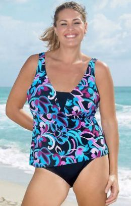 A bright medley of neon colors makes this tankini a summer knock out! This retro floral printed top provides coverage with a unique camisole look and hides the stomach with a matching high waist black brief bottom.
