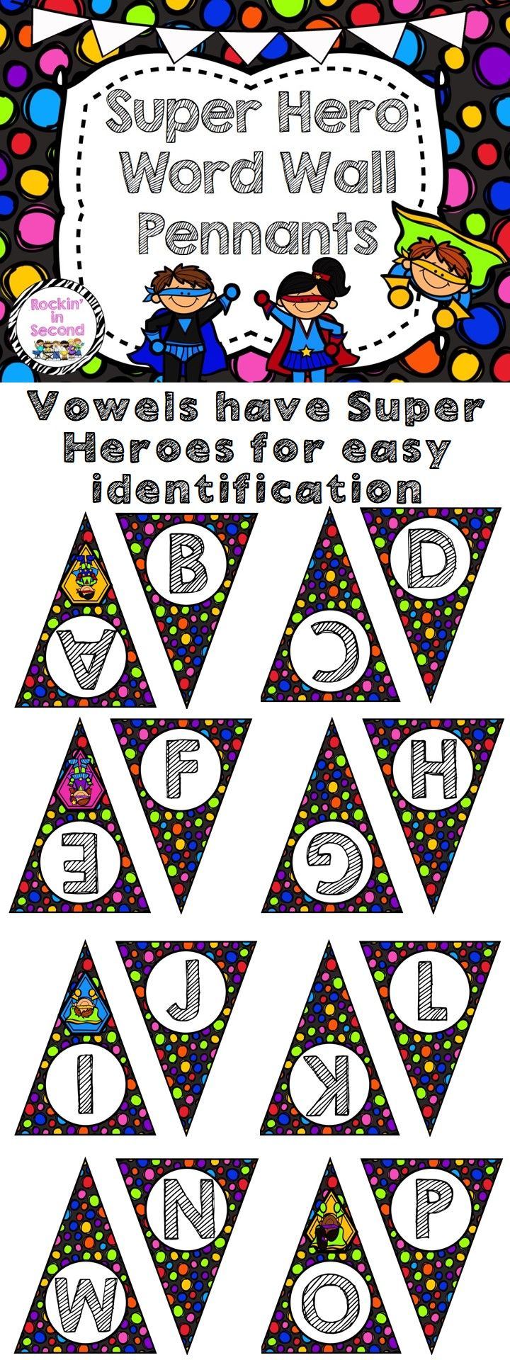 Super Hero Theme Word Wall Pennants Vowels have Super Hero Accents to help with identification. Turn any phrase you wish into a decorative banner for your classroom door, wall, or bulletin board with this set of alphabet pendants. At home, use them to decorate for a birthday party or baby shower. Visit my store for more Super Hero Themed Products Follow me on TPT for more exciting activities and FREEBIES!! All new products are 50% off for the first 24 hours.