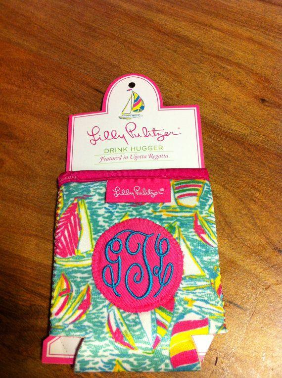 Lilly Pulitzer koozie with monogram by PunkRockSororityGirl, $11.00 - too cute!!!!