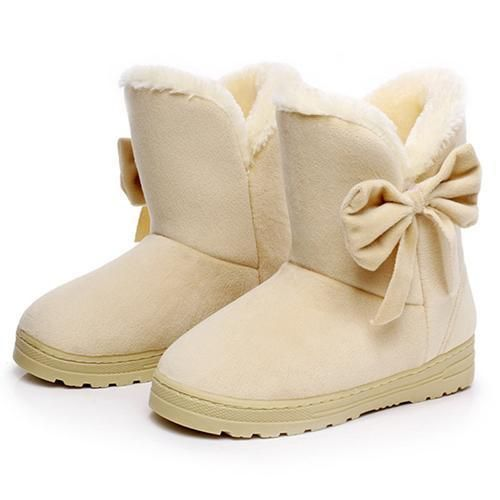 New Women Snow Boots Casual Bowtie Flat Women Winter Boots Leisure vel