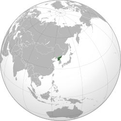 Area controlled by the Democratic People's Republic of Korea shown in green
