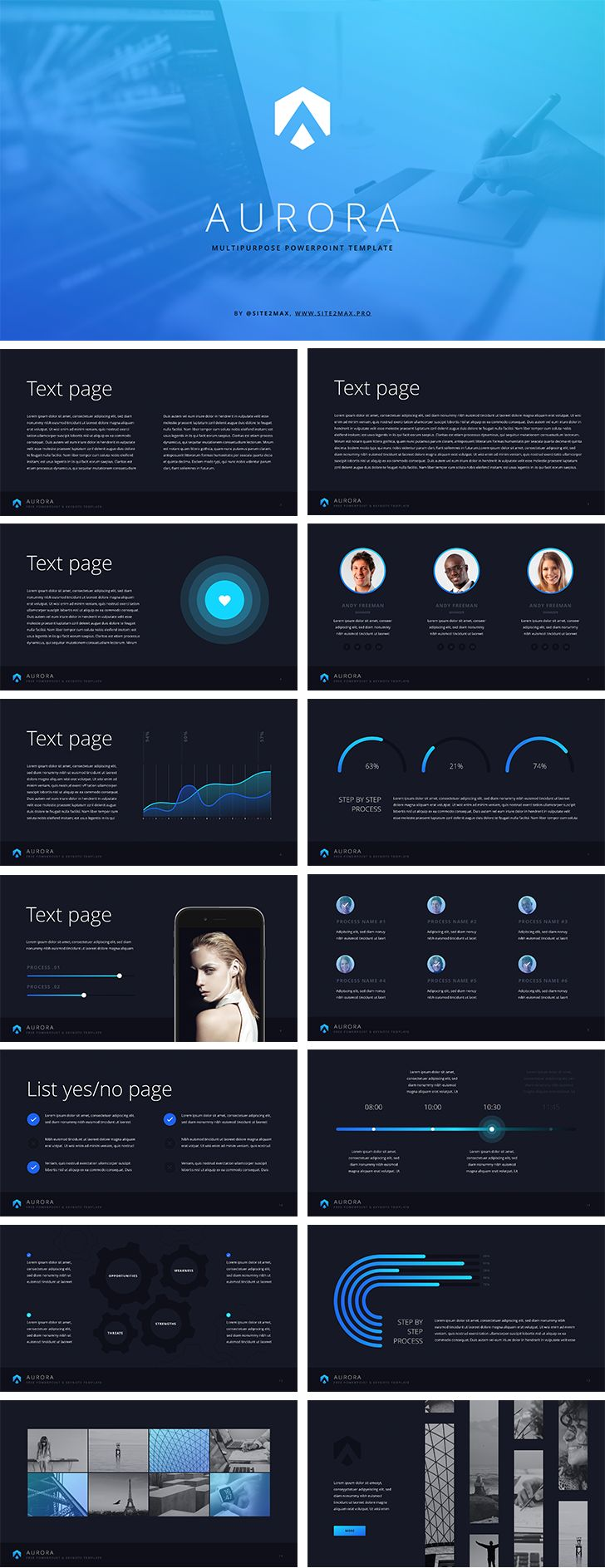 """Aurora"" free ppt template (blue) - Download Free Now!"
