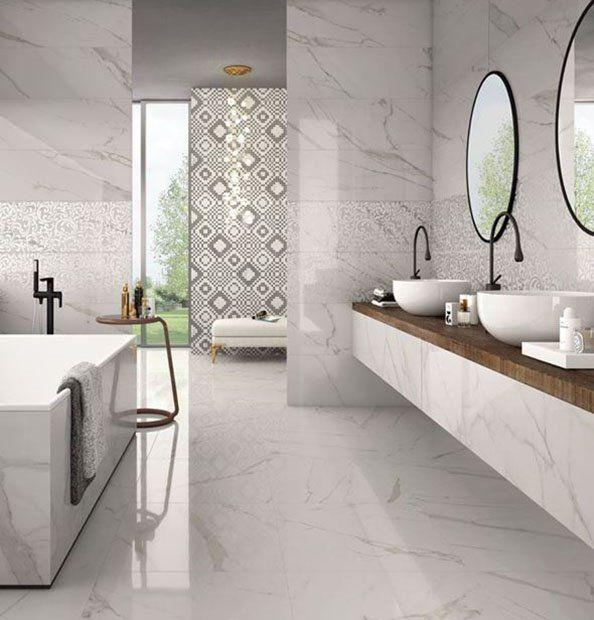 Trilogy carrelage imitation marbre pour d 39 l gantes - Carrelage salle de bains design ...