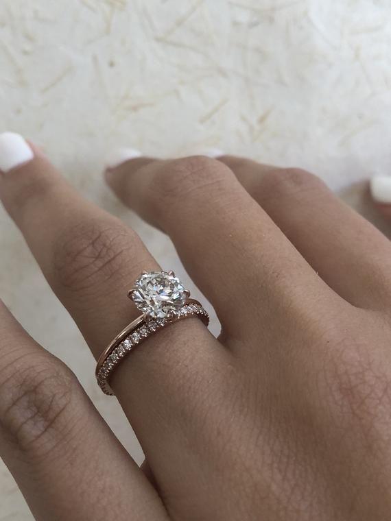 Diamond Engagement Ring Round Brilliant Diamond Bridal Set 1 80 Carat Solitaire Diamond Ring Solitaire Ring Wedding Band Diamond Ring Rose Engagement Ring Wedding Ring Sets Unique Engagement Rings