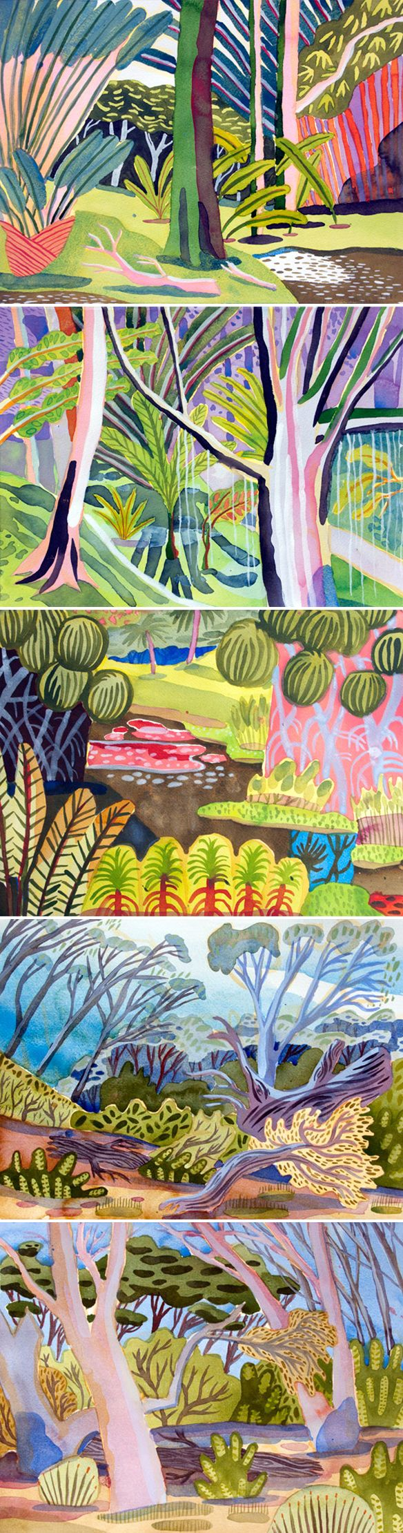 Tropical Garden - watercolor by Jennifer Tyers www.jennifertyers.com/ (via The Jealous Curator)