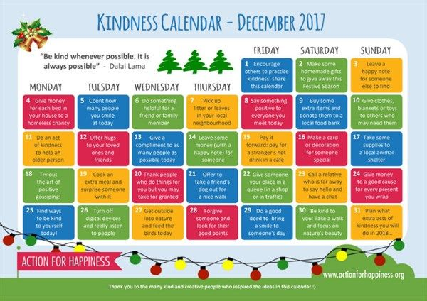 Help students spread kindness this month as we enter the holiday season. // Calendar by Action for Happiness