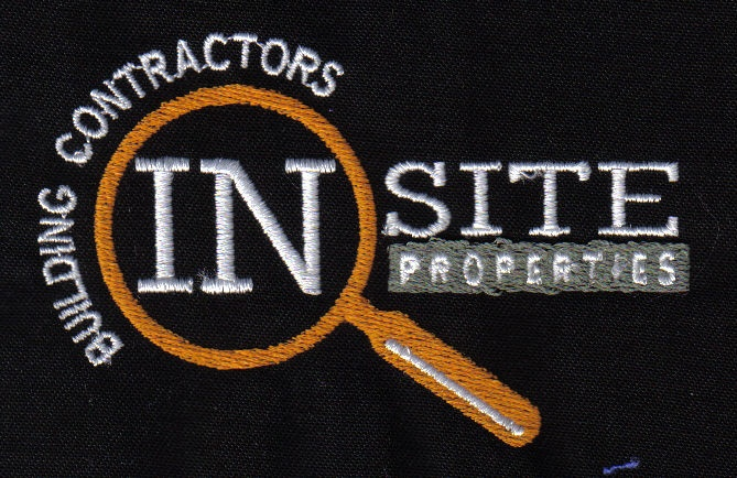 Building contractors In Site Properties logo on a polo shirt