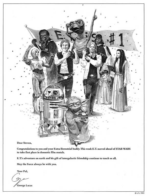 The ad George Lucas took out in Variety congratulating Steven Spielberg and his film E.T. the Extra-Terrestrial when it over took Star Wars at the box office