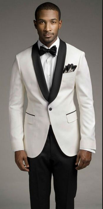 Top selling new white jacket and black satin lapel, groom's best man, men's wedding dress (coat + pants + vest and tie)