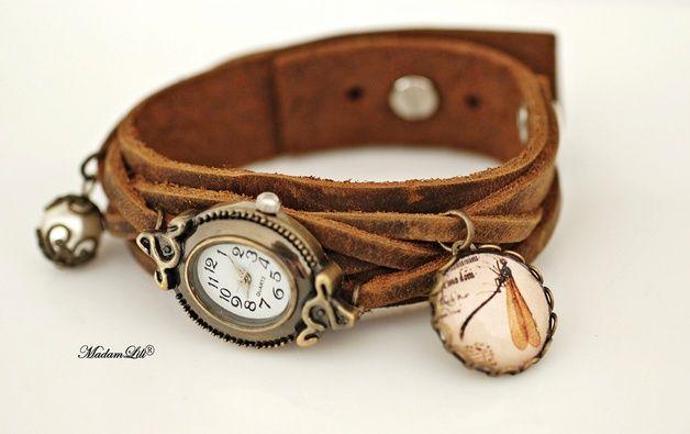 """De Natuuronderzoeker"" Armband Echtleder Horlog"