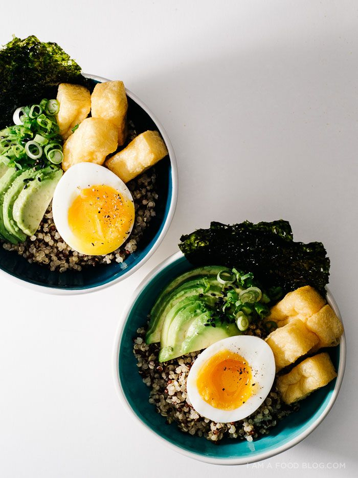 Quinoa Brunch Bowl with Six Minute Soft Boiled Eggs, Creamy Avocado, Tofu Puffs and a Miso Mustard Dressing · i am a food blog i am a food blog