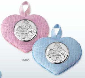 Medalion z pozytywką ozdobiony srebrnym emblematem przedstawiającym Matkę Boską z karmiącą, idealny na prezent z okazji Chrztu. #dla_dziecka #upominek #urodziny