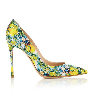 Who can argue with the statement that futuristic florals in sunshine yellow or perky pink add an instant injection of much-needed summer colour? And so to a confluence of Gianvito Rossi's architectural silhouettes and Mary Katrantzou's ebullient patterns – a new designer shoe collaboration that launches at Harvey Nichols this week.